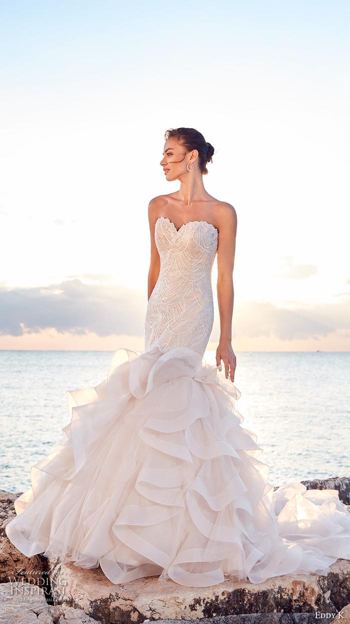 Brautkleid-Meerjungfrau mit Tüll, trägerlos, mit Herz-Ausschnitt, in Weiß