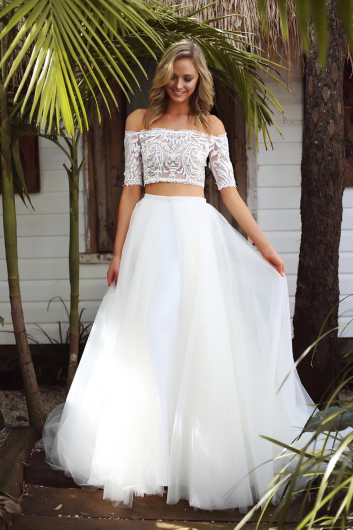 Sommer Hochzeitskleid, zwei Teile, Spitzen-Oberteil, Tüllrock, bodenlang und weit