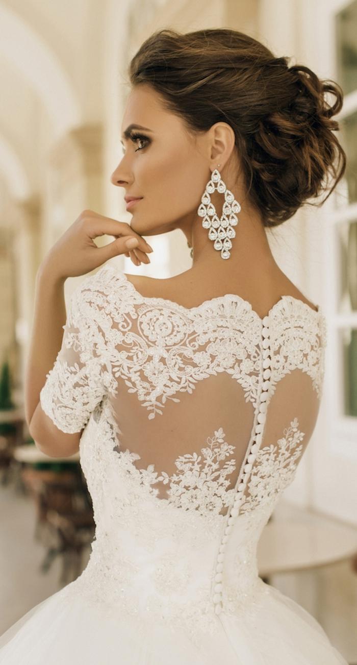 traumhaftes Brautkleid aus Tüll und Spitze, schulterfrei, mit kurzen Ärmeln, weit
