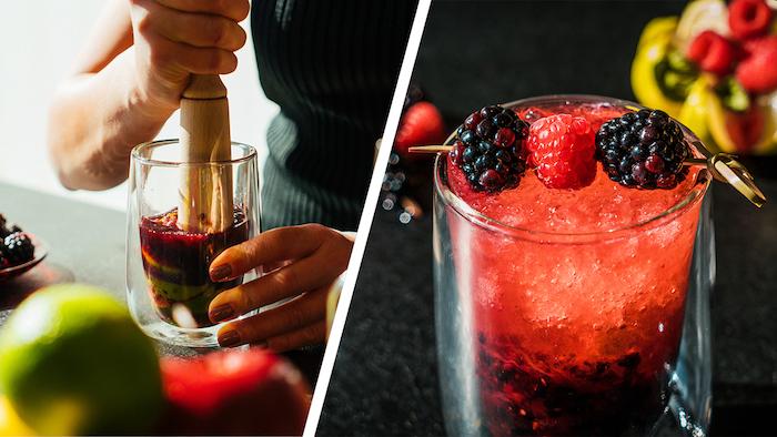 Schneller Cocktail mit Wodka, Brombeeren und Sodawasser für den Sommer
