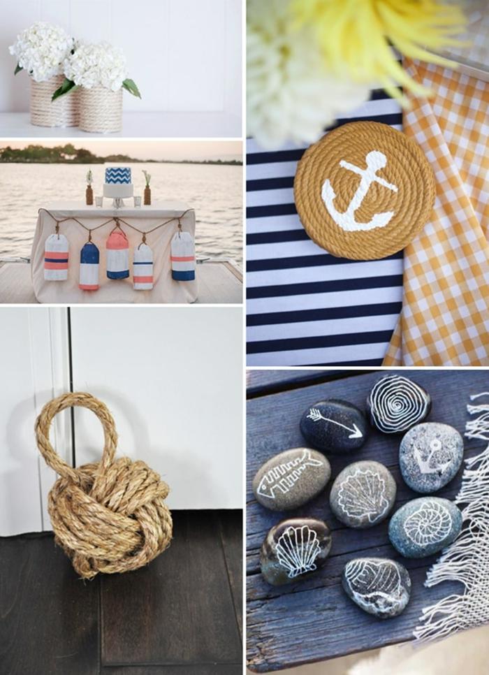Collage von maritim Einrichten Ideen zum Selbermachen, bemalte Steine, Untersetzer aus Seil mit Bild von einer Anker