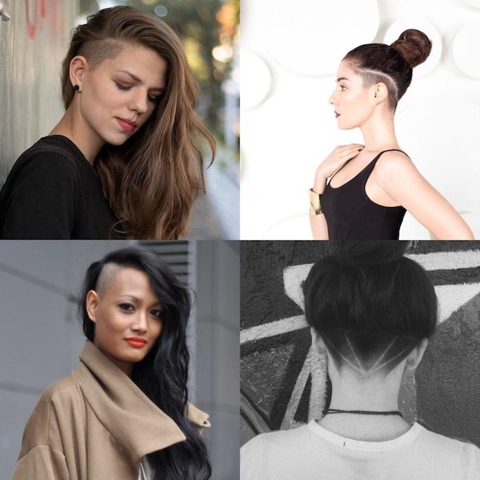 collage haarfrisuren inspiration lange und kurze haare kurzhaarfrisur undercut damen braune haarfarbe frisuren für kurze haare 2020 trends