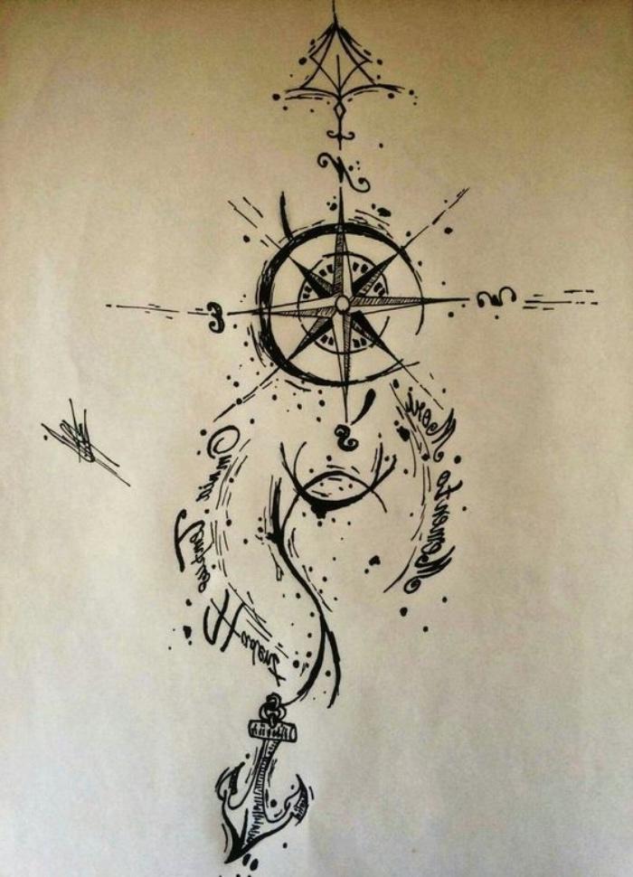 ein schwarzer kompass und anker - idee für einen tollen compass tattoo, die ihnen sehr gut gefallen könnte