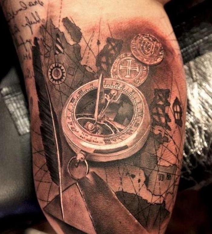 eine idee für einen märchenhaften compass tattoo mit einem großen goldenen kompass, einer langen schwarzen feder und münzen
