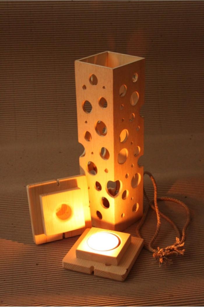 deko holz holzlampe mit löcher leuchte laterne mit kerzen oder lampe tolle idee laterne selber machen