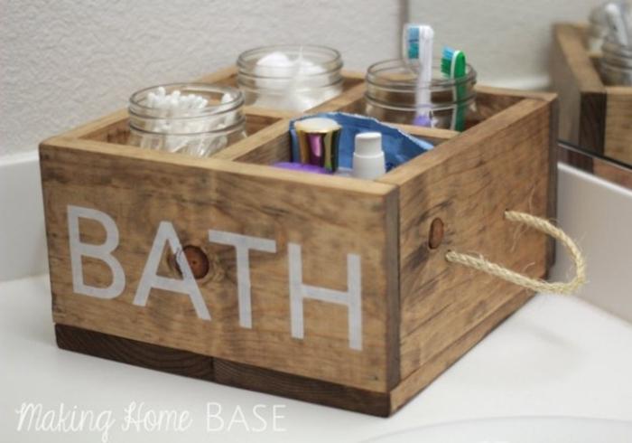 holz deko bad dekoration ideen badezimmer zubehör schön gestalten kasten aus holz ideen