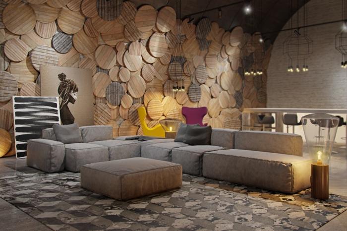 holz deko ideen im wohnzimmer hölzerne dekorationen in dem zuhause großes sofa bunte akzente lampe