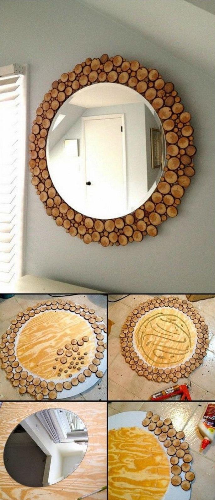 deko aus holz hölzerne spiegel selber dekorieren mit kleinen stücken aus holzzweigen deko elemente