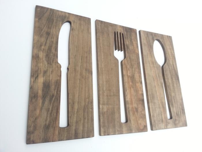 deko aus holz deko ideen für die küche gaben löffel messer in der küche aufhängen hölzerne deko