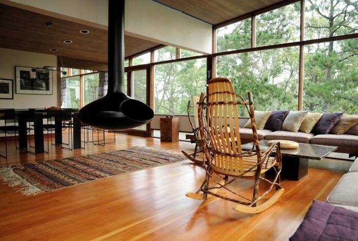 dekoartikel aus holz dekoideen für das landhaus beweglicher stuhl teppich kaminofen sofa tisch laminatt