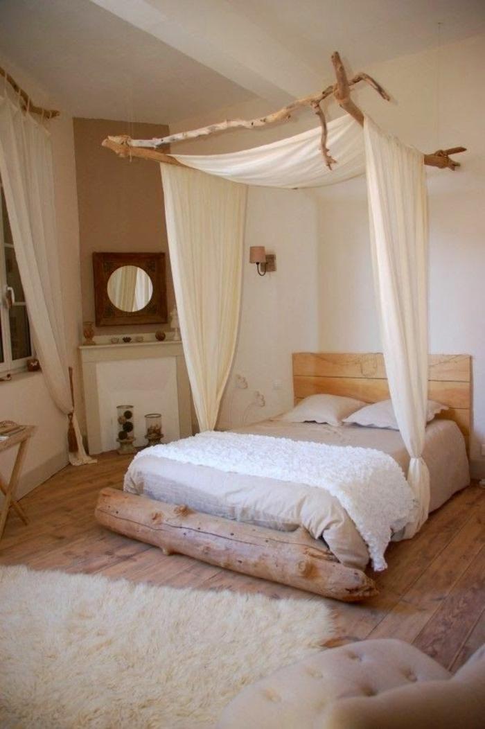dekoartikel aus holz dekoidden für das schlafzimmer schlafzimmerdeko naturstoffe spiegel pelzteppich