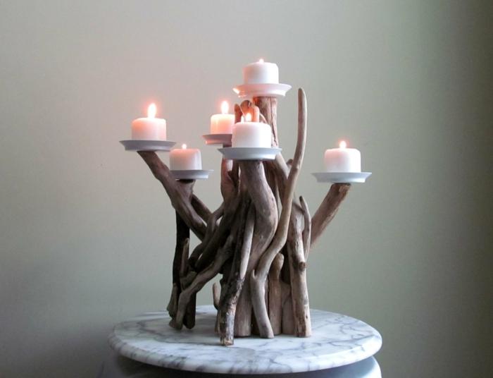 holzdeko ideen mehrere zweige als kerzenständer verwenden ideen kerzen lichter leuchten marmortisch