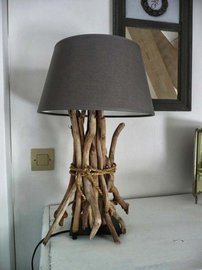 holzdeko ideen gestaltung schöne ausführung dekorative lampe faszinierende idee zweige