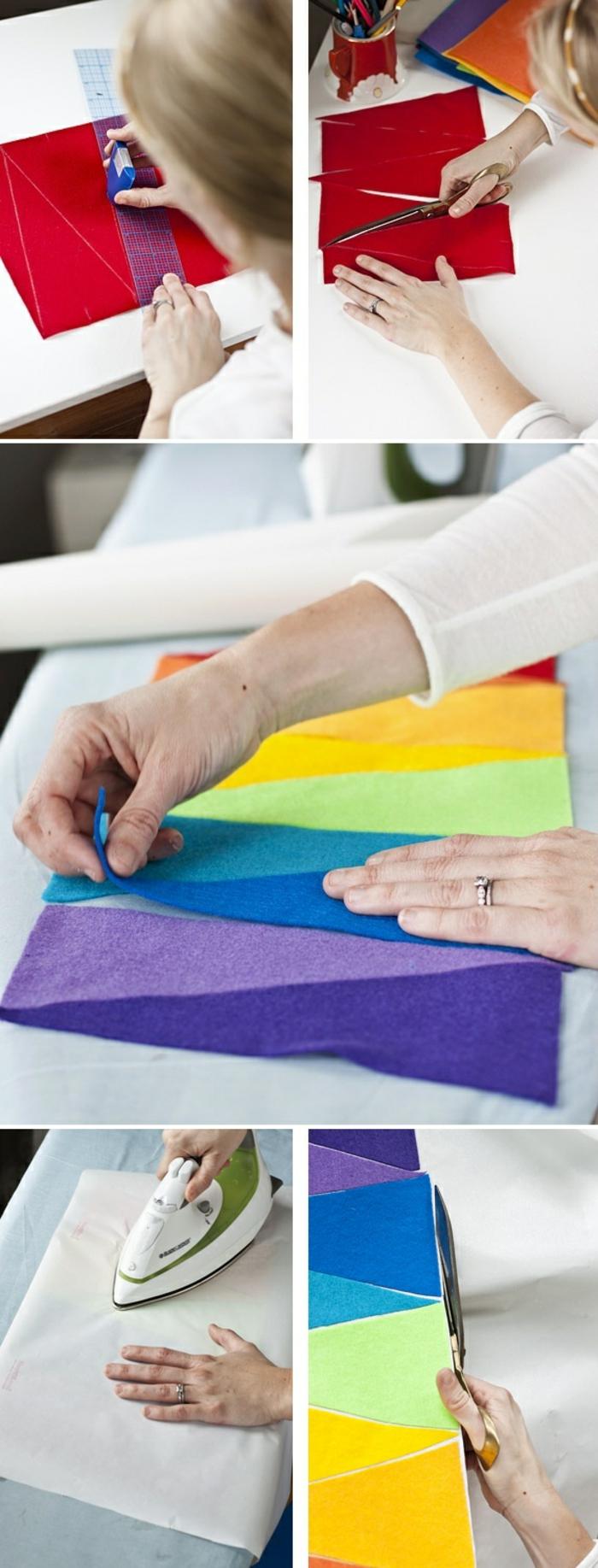 tischläufer in bunten farben aus stoff basteln, lineal, schere