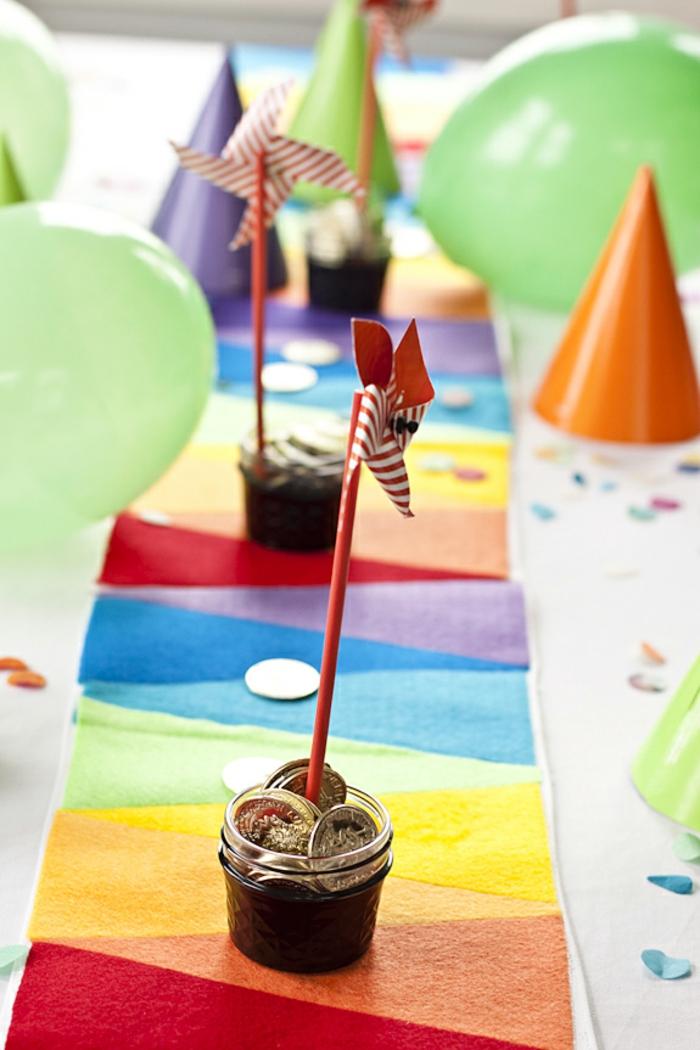 tischläufer in den regebogen-farben, kindergeburtstag, kinderparty, partydeko
