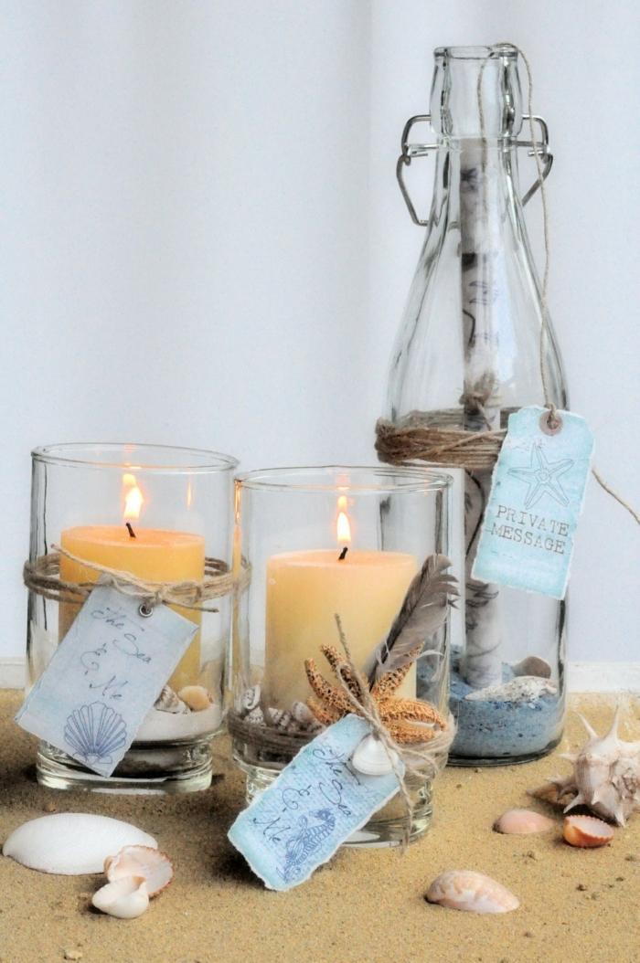 Maritime Dekoration günstig kaufen, zwei Kerzen in Gläser, große Flasche mit Botschaft, Sand mit vielen Muscheln,
