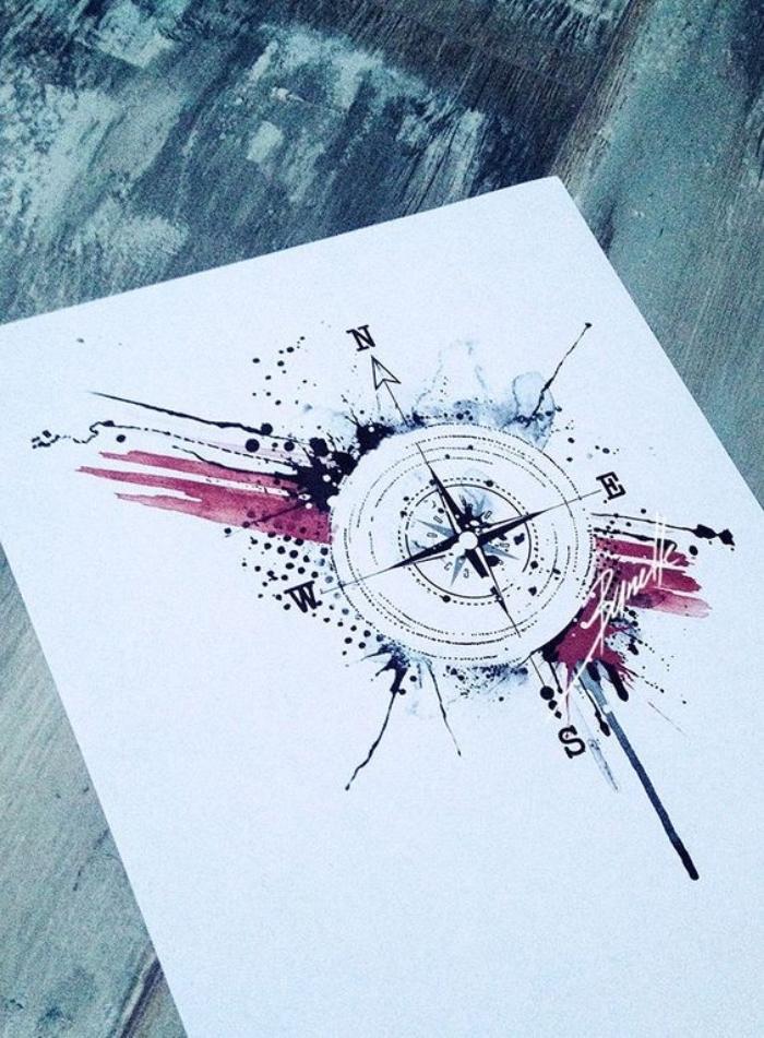 eine idee für einen schwarzen tattoo mit einem schwarzen kompass - ein blatt papier mit einer idee für einer compass tätowierung . tattoo vorlage