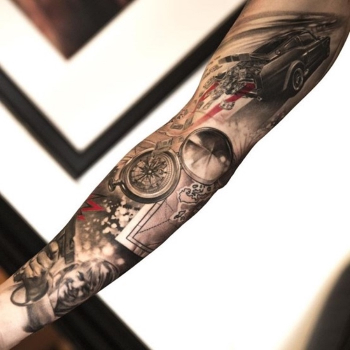 jetzt zeigen wir ihnen noch eine unserer ideen für einen schwarzen großen tattoo mit einem großen kompass, einer frau und wagen