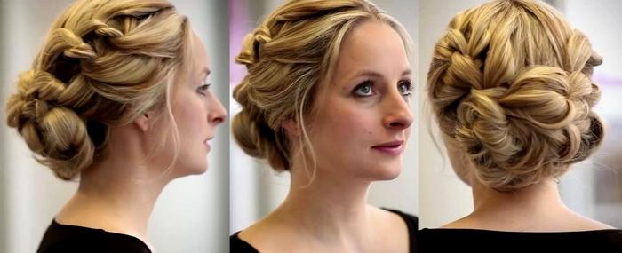 blondes Haar viel geflochtene Frisur Hochsteckfrisur Hochzeit schwarzes Kleid