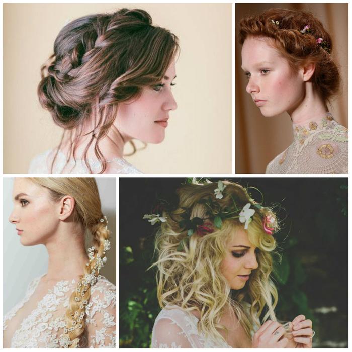 vier Beispiele für Hochzeit Haarein vintage Stil mit Blumen als Haarschmuck