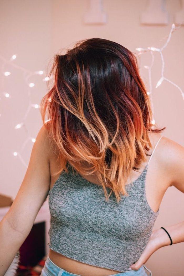 frisuren frauen, moderne damenfrisuren, kurze haare, ombre effekt