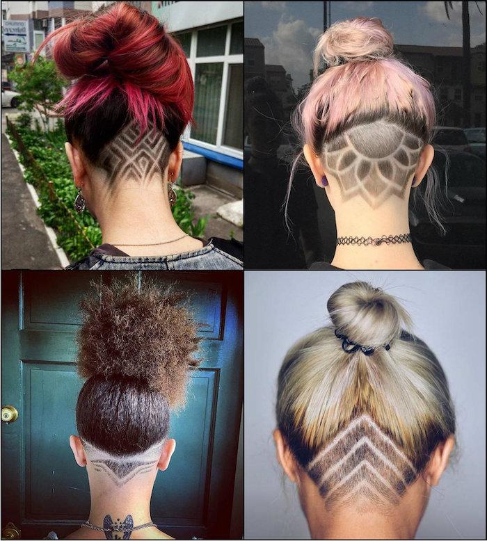 frisuren inspiration collage kurzhaarfrisuren damen undercut design mit linien und blumen formen freche frisuren für kurze haare