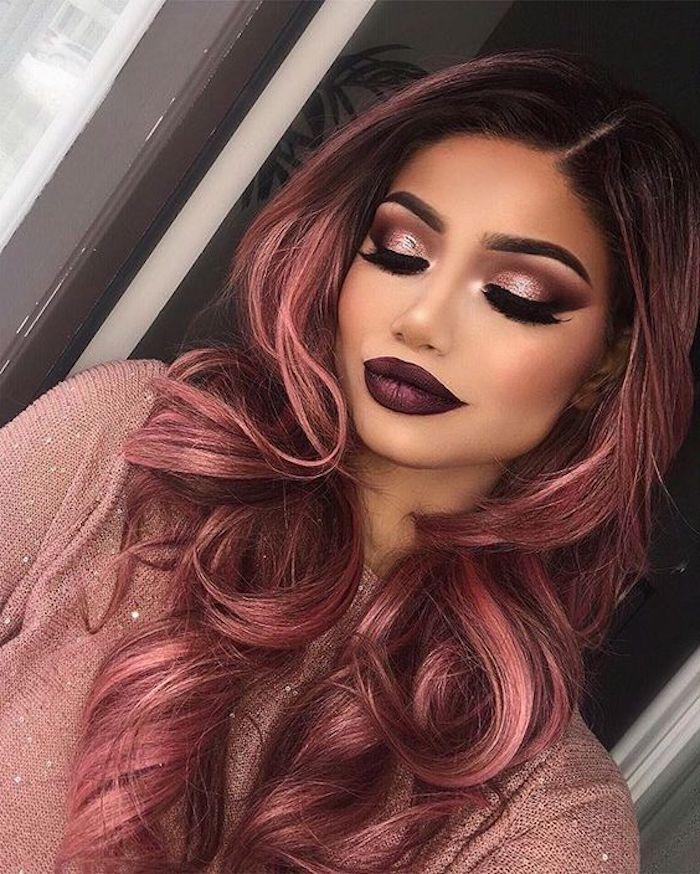 coole frisuren, dame mit abend make up und roten, langen haaren