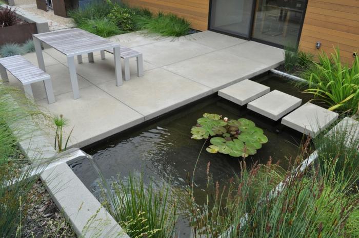 moderne Gartengestaltung - Wasserspiel und Teich Landhausstil Gartenmöbel