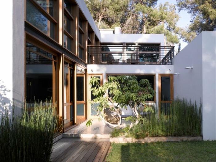 ein kleiner Baum im Garten mit hohen Gras und Rasen - moderne Gartengestaltung