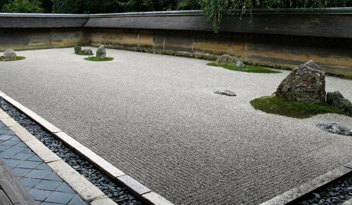 graues Sand, große Steine und grünen Moos - eine moderne Gartengestaltung