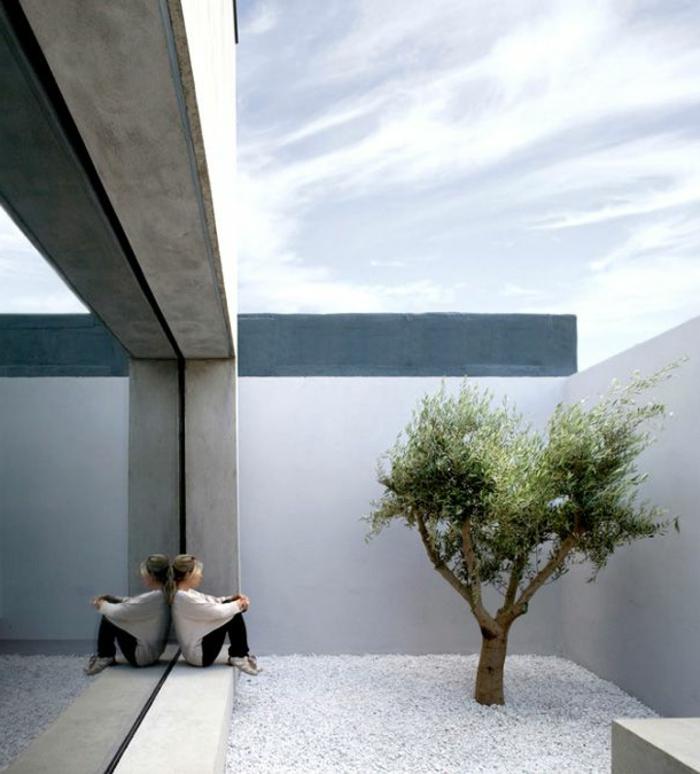 ein Garten mit der Ideen von Minimalismus und existenzielle Einsamkeit