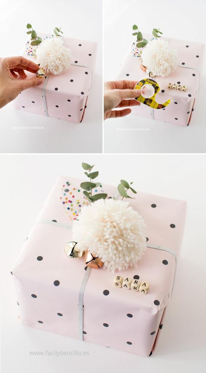 rosa Verpackungsideen mit Pompons, Glocken und Stängel als Verzierung zum Geburtstag