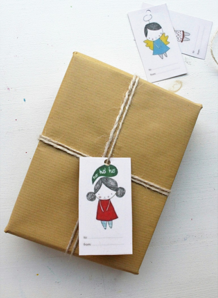 selbst gezeichnete Bilder mit kleinen Mädchen Verpackungsideen zu Weihnachten