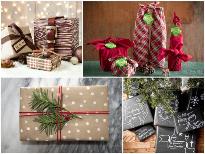 ein Collage von verschiedene Geschenk Verpackung Ideen zu Weihnachten - Geschenke verzieren