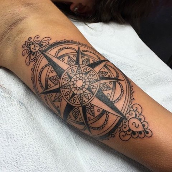 das ist eine wirklich tolle idee für einen großen schwarzen tattoo mit einem schwarzen kompass mit mandala motiven - eine tätowierung auf der hand