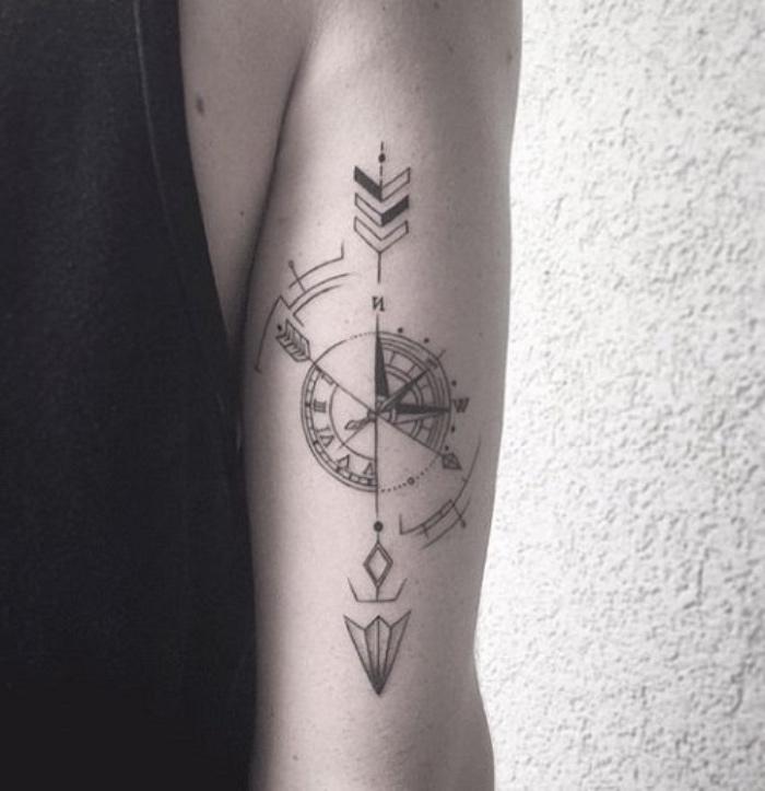 eine hand mit einem schwarzen tattoo mit einem schwarzen steampunk kompass mit einem langen Pfeil