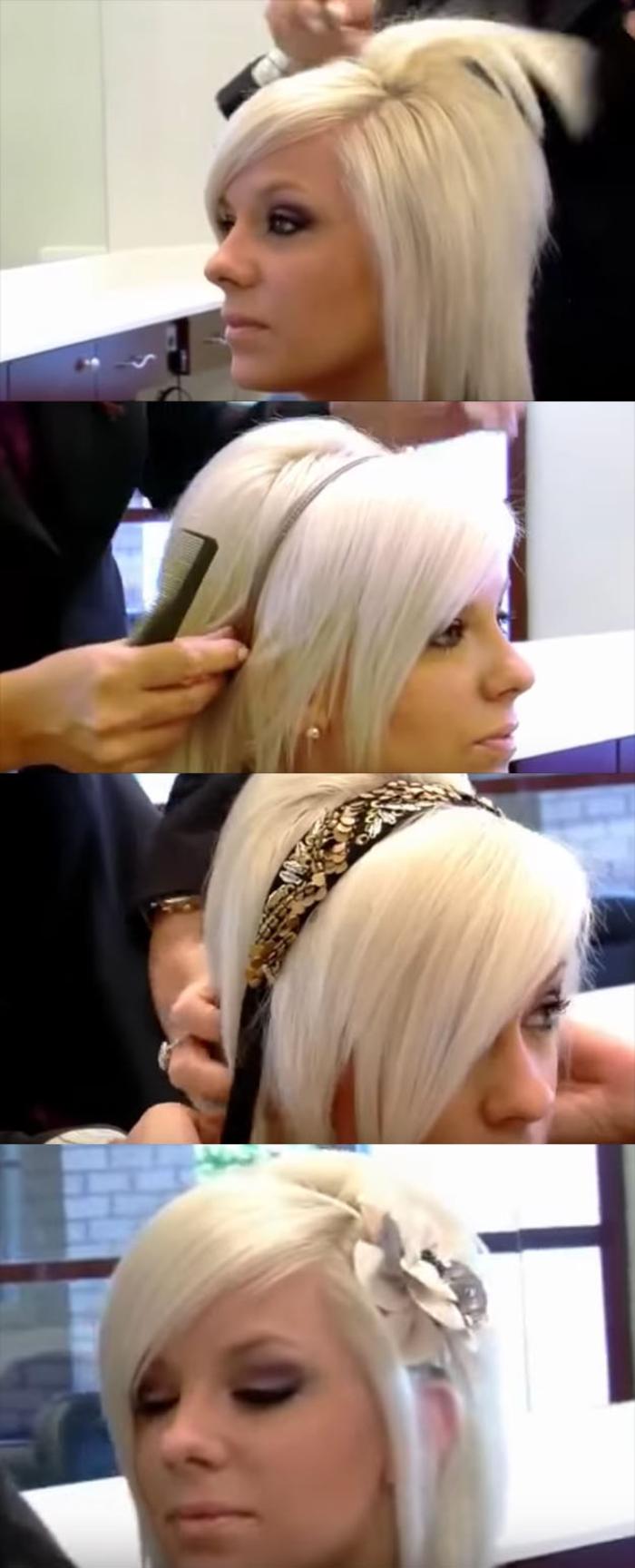 vier verschiedene Weise blonde Haare wie zu frisieren mit Haarschmuck