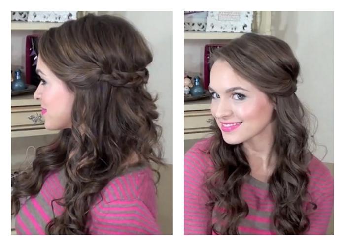 niedliches Mädchen lockige Haare braune Haare dezente Schminke Hochzeit Haare