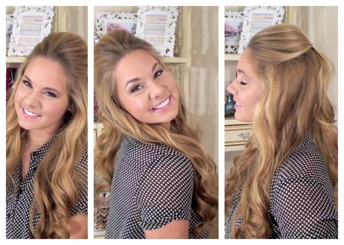 lange Haare blonde Haare eine lässige Frisur für Hochzeit drei Fotos aus verschiedener Perspektive