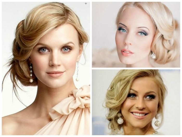 drei blonde Brautjungfern mit schicken Frisuren unregelmäßige Haare