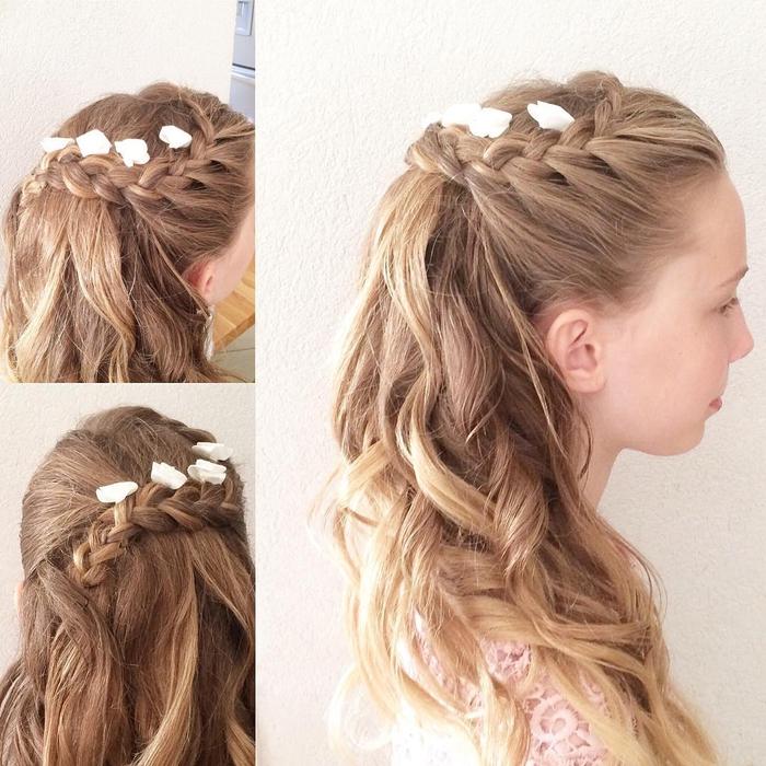 geflochtene Frisur lange blonde Haare kleine weiße Blumen einfache Hochzeit Frisuren