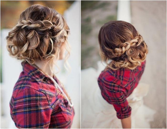 lässige Frisur geflochten mit Ombre Look ein Landhaus Hochzeit Frisur