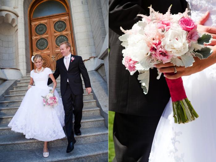 kleine rosa Blumenstrauß von einem verliebten Paar vor der Kirche