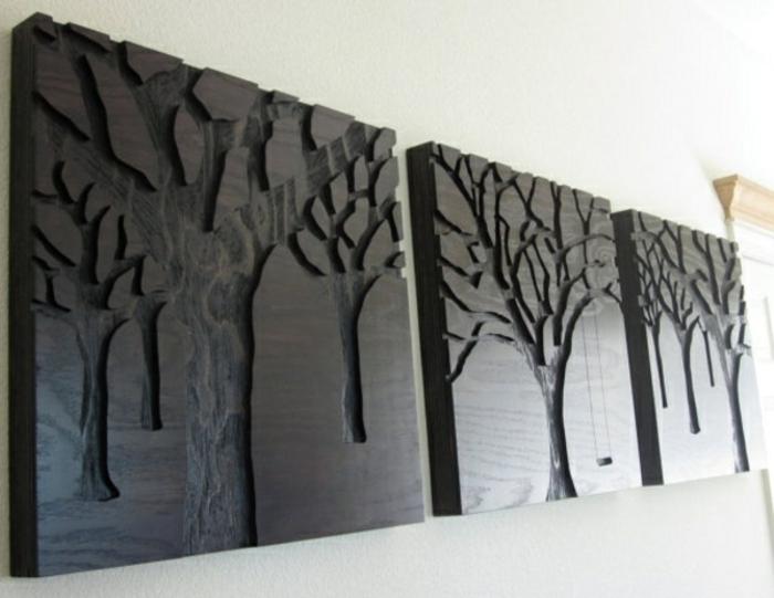holz deko für draußen schwarze deko elemente zum inspirieren dekorative blumen in holz gravieren