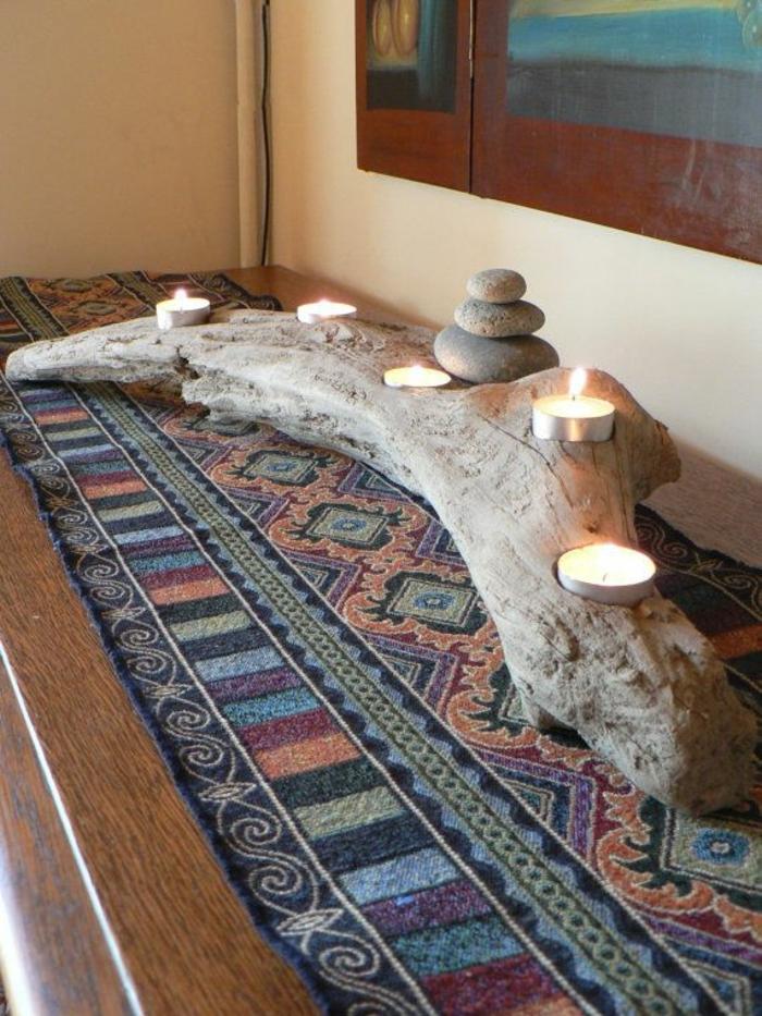 holz deko für draußen holz als ständer für kerzen nutzen schöner bunter teppich gestaltung idee