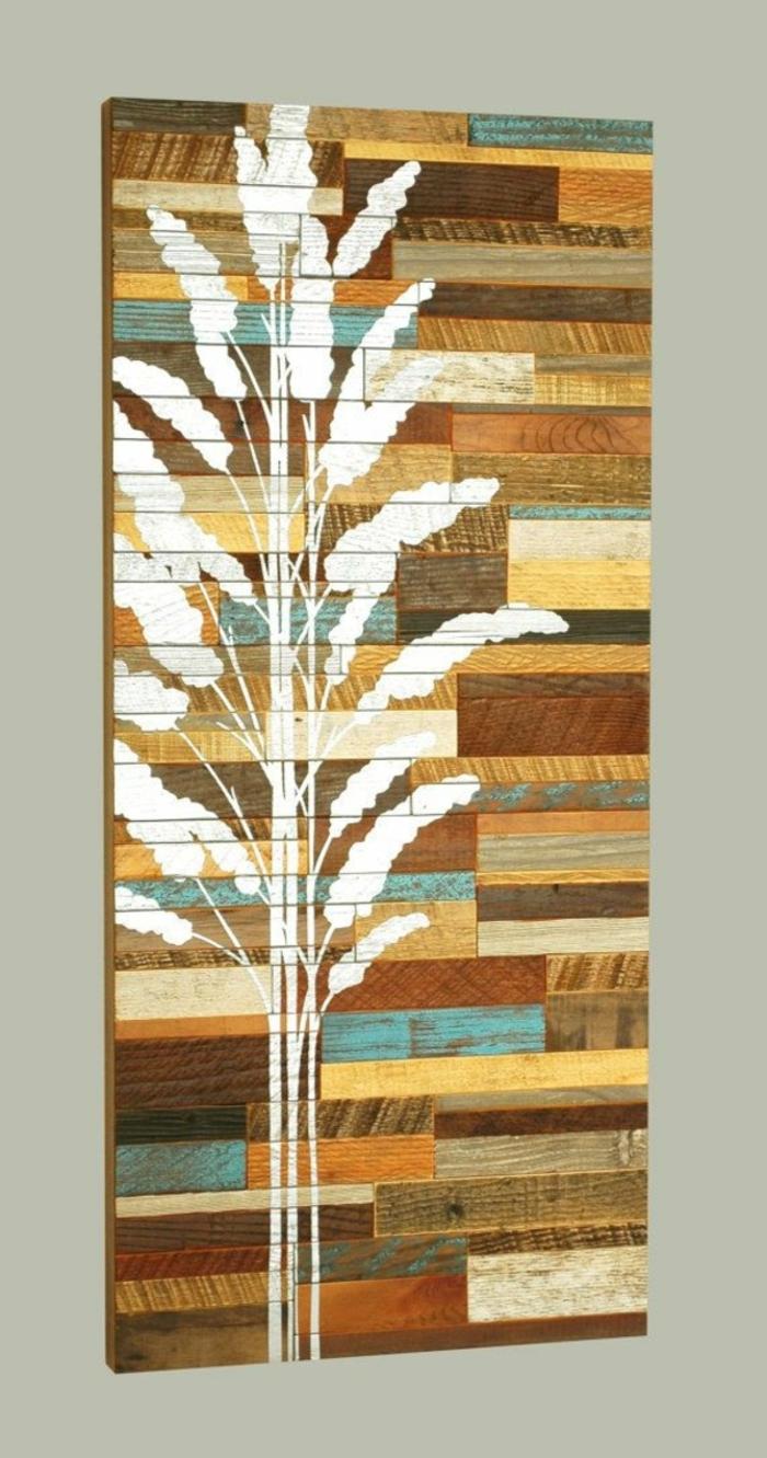 holz deko für draußen hölzerne deko an der wand gestaltung ideen bunte platte mit weißen dekorationen