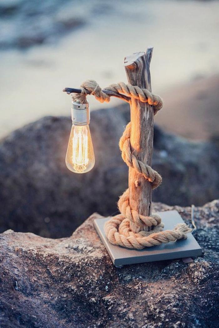 holz deko selber machen tolle idee kleine lampe selber gestalten romantik meeresambiente idee