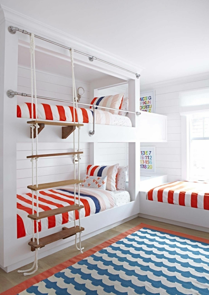Schlafzimmer maritim kinder Einrichtung, Teppich blau weiß, Etagenbett mit Leiter, Bettwäsche in rot und weiß