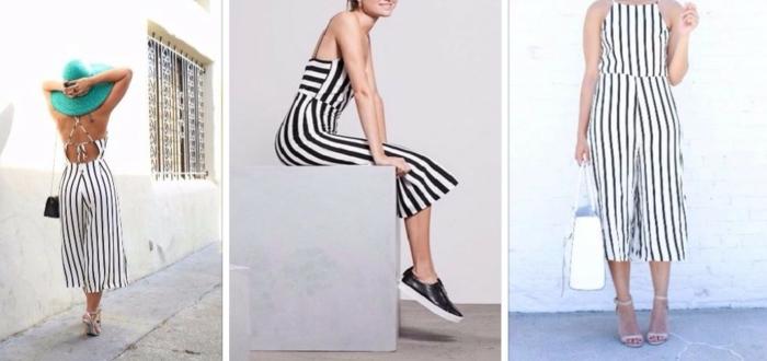 einteiliger hosenanzug jumpsuit streifen grüner hut sneaker schöne accessoires ideen für sommer outfit