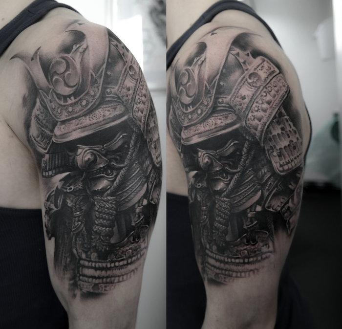krieger tattoo, mann, maske, helm, oberarmtattoo, tätowierung